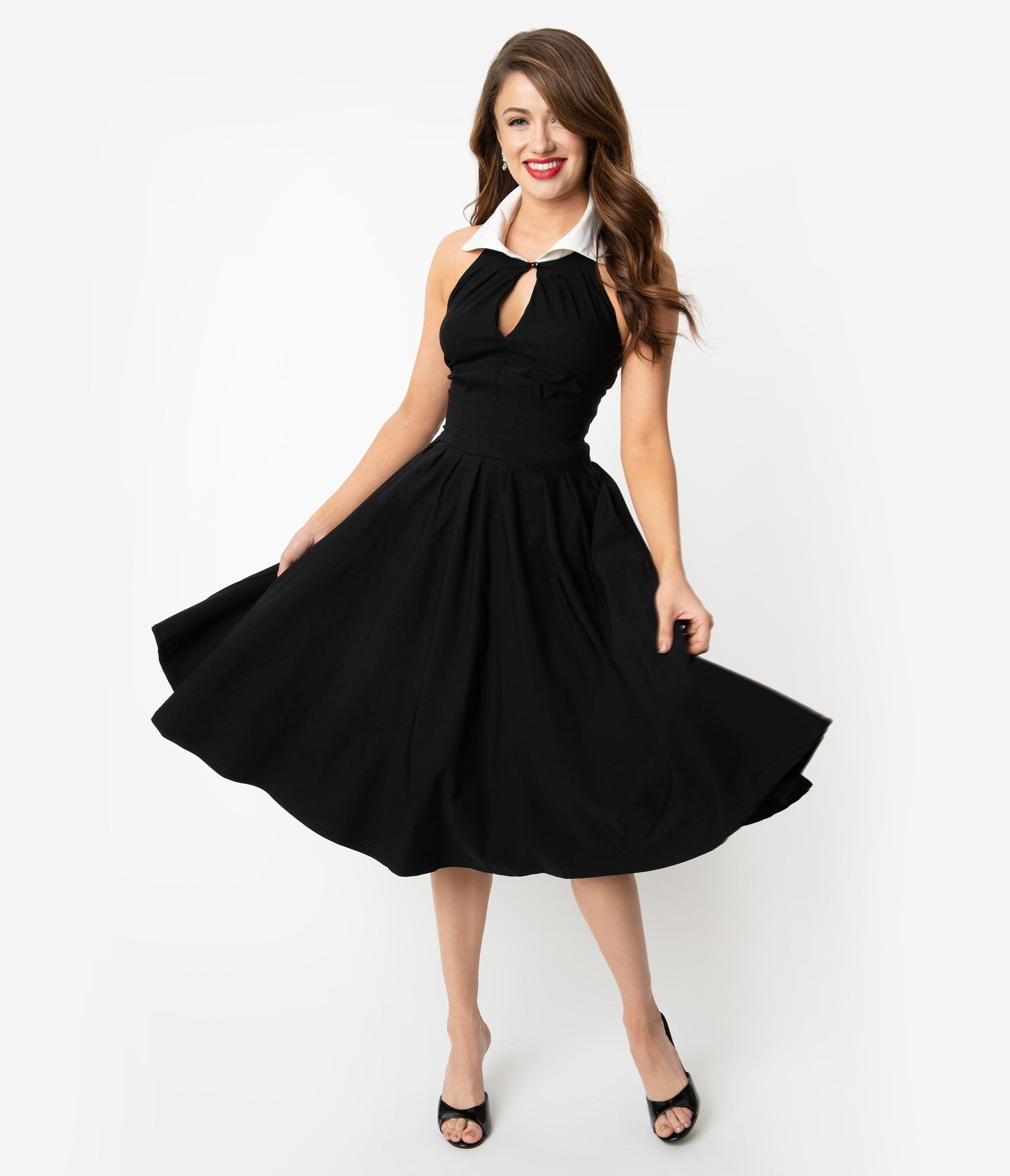 1950s Dresses 50s Dresses 1950s Style Dresses Unique Vintage 1950s Black White Collar Halter Verdon Swing Dress 98 Halter Swing Dress Swing Dress Dresses [ 2550 x 2190 Pixel ]