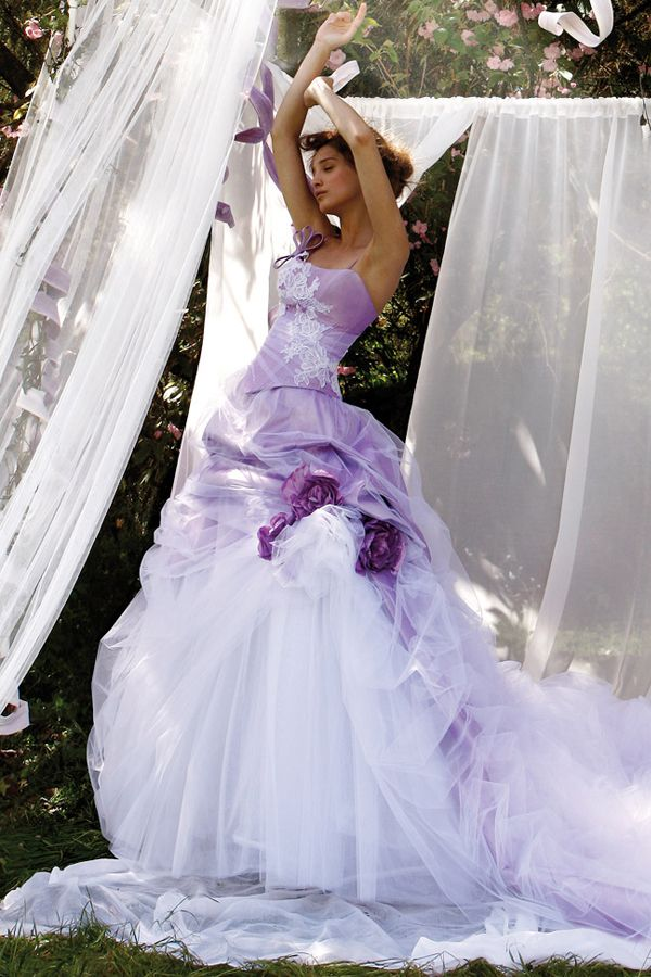 Sexy White and Purple Wedding Dress - http://casualweddingdresses ...