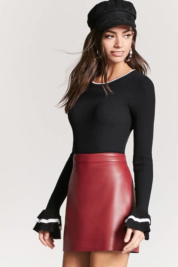 06e68ce4336 FOREVER 21 Faux Leather Mini Skirt. Destined to turn heads in its  compelling red leather.
