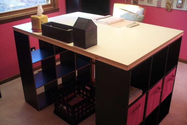 I Love This Idea Desk Using Two Cube Storage Units In Black That I Purchased At Local Target With Particle B Cube Storage Cube Storage Unit Craft Room Storage