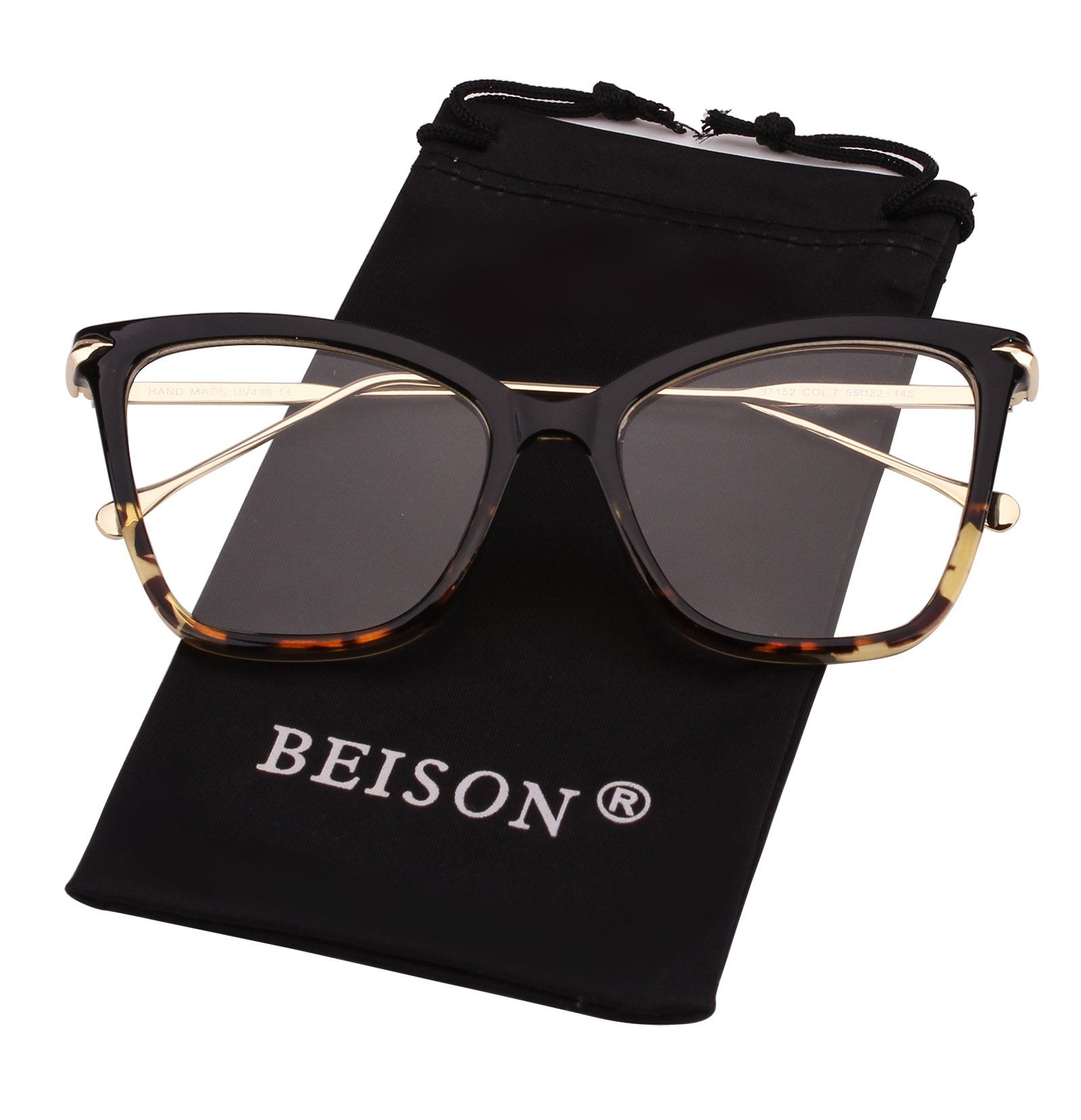 e8de3f795168be Beison Womens Cat Eye Transparent Frame Mod Sunglasses Eyeglasses Black  Leopard Clear    Find out