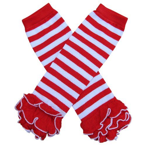 Red Baby Leg Warmers Red Chevron Stripes