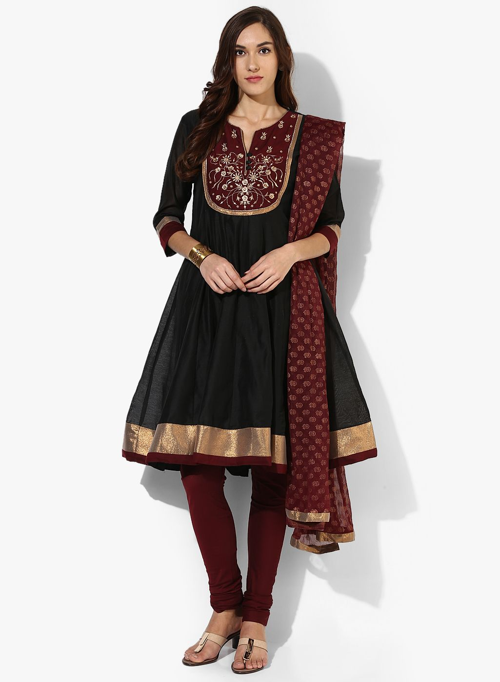 fdd9ee2e4 Buy Trishaa By Pantaloons Black Embroidered Churidar Kameez Dupatta for  Women Online India