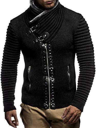 Buy Leif Nelon LN5165 Men's Cardigan Stud Details Zip Front