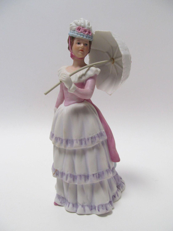 Vintage Homco Victorian Lady With Parasol Figurine Homco