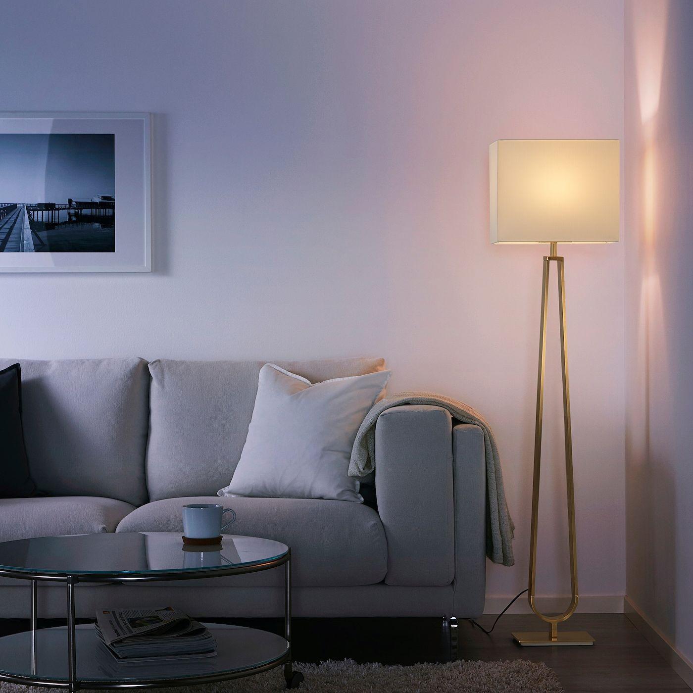 Klabb Floor Lamp Off White Brass Colour In 2020 Floor Lamp Ikea Black Lamps