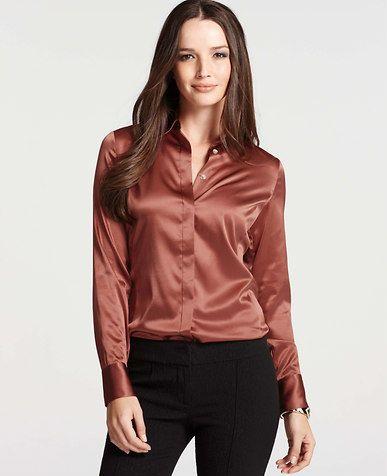 bd0af422ba4ea6 Petite Silk Legacy Button Down Blouse | *Ann Taylor* | Satin dresses ...