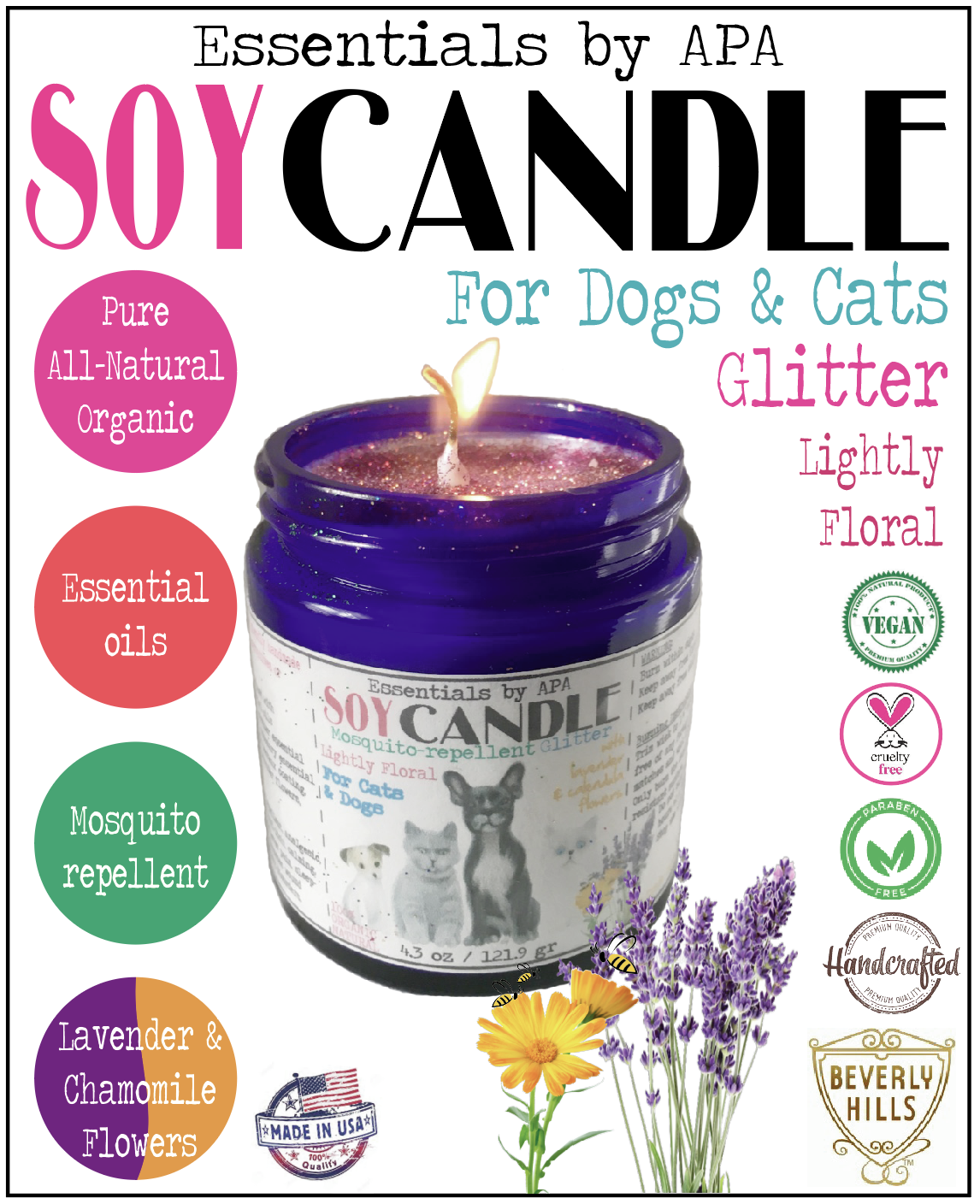 Soy Candle Mosquitorepellent Floral for Cats Dogs