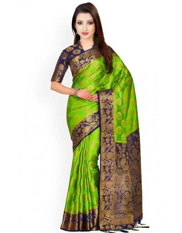Parrot Green And Navy Blue Kanjivaram Silk Saree Sarees