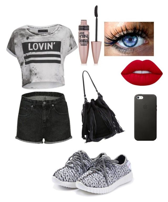 """""""Untitled #63"""" by dahat ❤ liked on Polyvore featuring Religion Clothing, Lime Crime, Maybelline and Loeffler Randall"""
