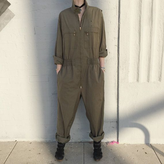 231a306fc9ff Vintage army navy flight suit workwear coveralls onepiece jumpsuit size  large
