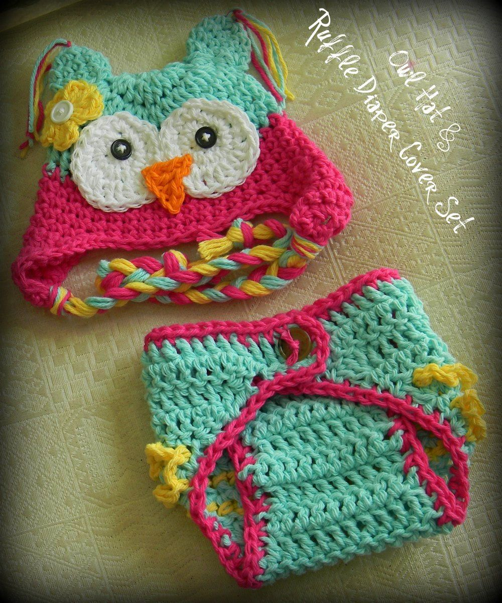 Baby Girl, Owl hat, Owl Set, Diaper Cover, Crochet Baby Hats, Baby ...