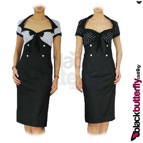 NEW CHIC VINTAGE 50's STYLE POLKA DOT BLACK PENCIL WIGGLE DRESS SIZE 12 - 26 | eBay