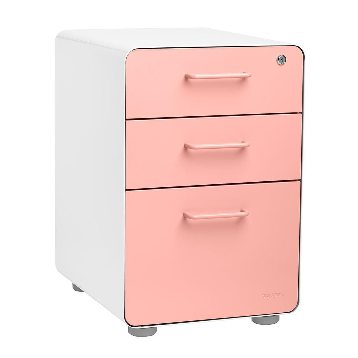 Poppin Blush 3 Drawer Stow Locking Filing Cabinet Filing Cabinet Drawers Container Store