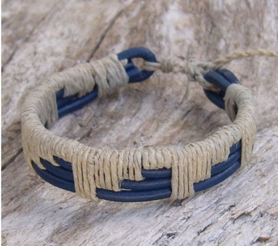 Blue Leather and Natural Hemp Woven Bracelet, $20.0