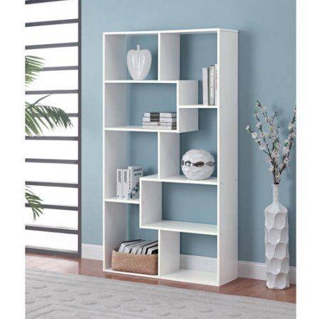 Mainstays Home 8 Shelf Bookcase Multiple Finishes White White