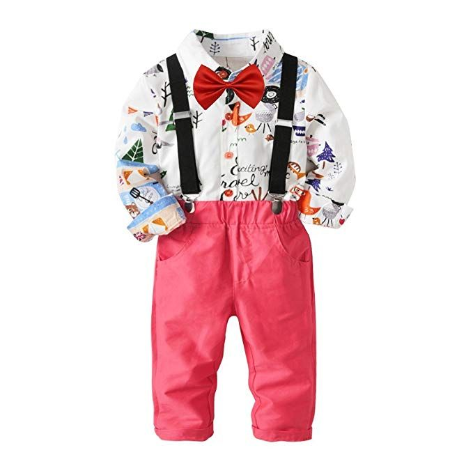 1581231082374 Baby Boys Fashion Gentleman Pants Clothing Set Long Sleeves Shirt+Suspender  Colorful Pants+Bow Tie Toddler 4Pcs Set (Forest+Pink, 2-3T/90)