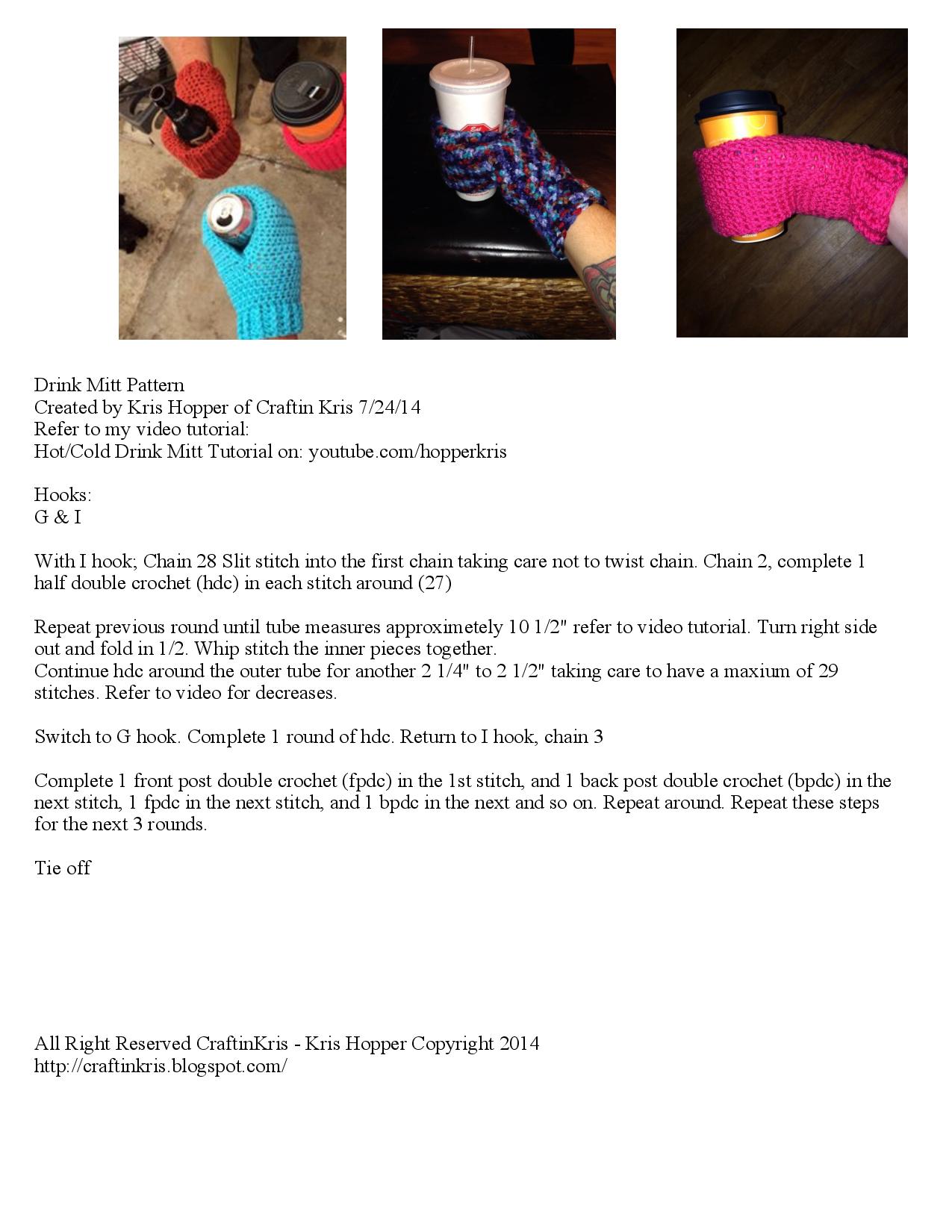 Drink Mitt Written Pattern | crochet | Pinterest
