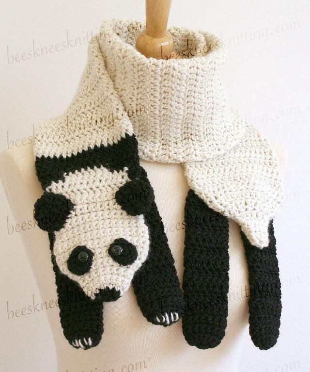 Panda Scarf Crochet Pattern | Bufandas modernas, Manualidades de ...