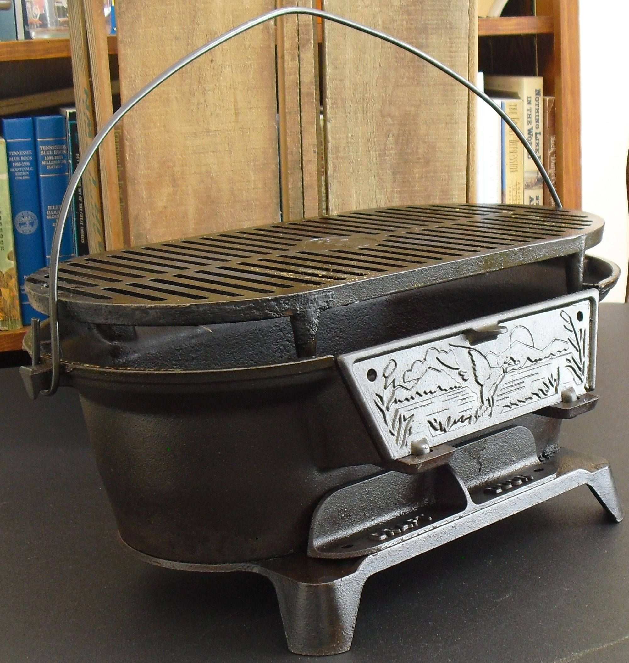 Vintage Lodge Cast Iron Charcoal Sportsman Hibachi Grill, American  Wildlife, Portable Stove