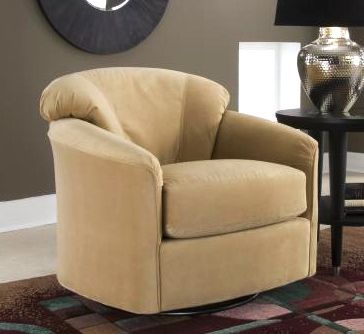 Klaussner Contemporary Swivel Glider Ideal for bringing a punch of style to a smaller space, this contemporary swivel accent chair will add instant appeal to your home's decor. Upholstered in your choice of color options, the glider has a rounded back with tapered arms for added visual interest.