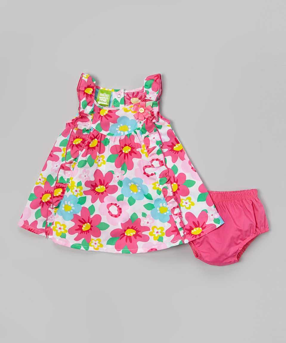 Look what I found on #zulily! Pink Floral Ruffle Dress & Diaper Cover - Infant & Toddler by Watch Me Grow #zulilyfinds