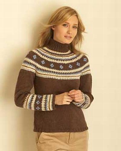 Fair Isle Yoke Pullover #4099 pattern by Bernat Design Studio ...