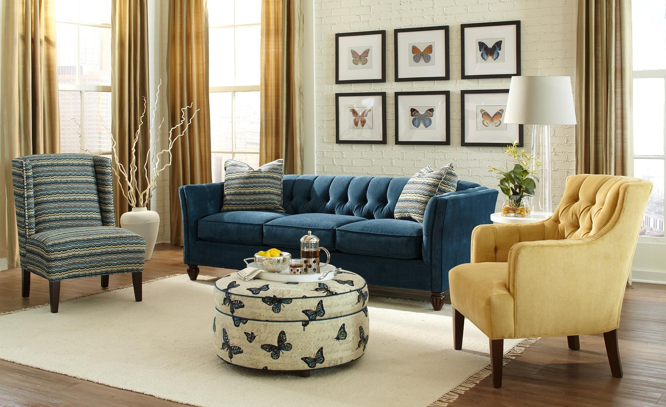 Furniture navy blue velvet tufted chesterfield couch with