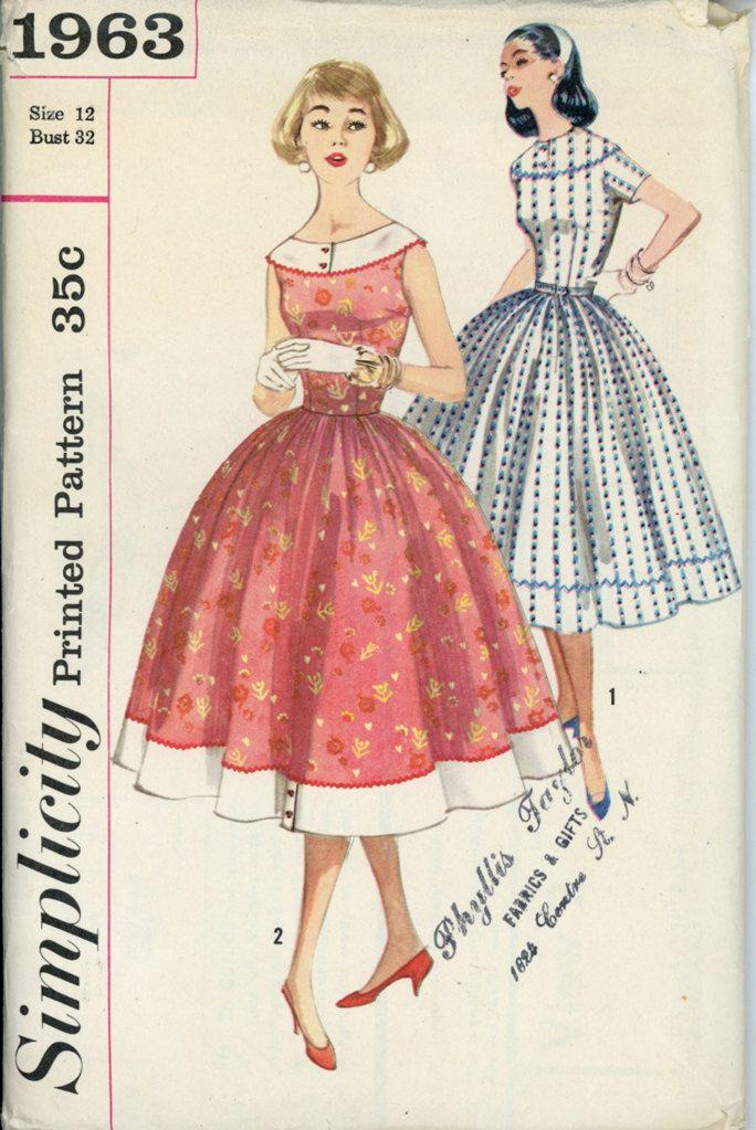 1950s Full Skirt Dress Pattern Simplicity 1963 Bust 32 Womens ...