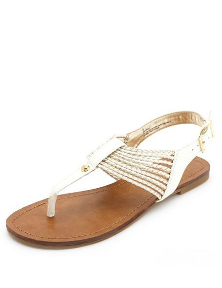 a0c6b024dbf3 Gold-Braided T-Strap Thong Sandals  Charlotte Russe