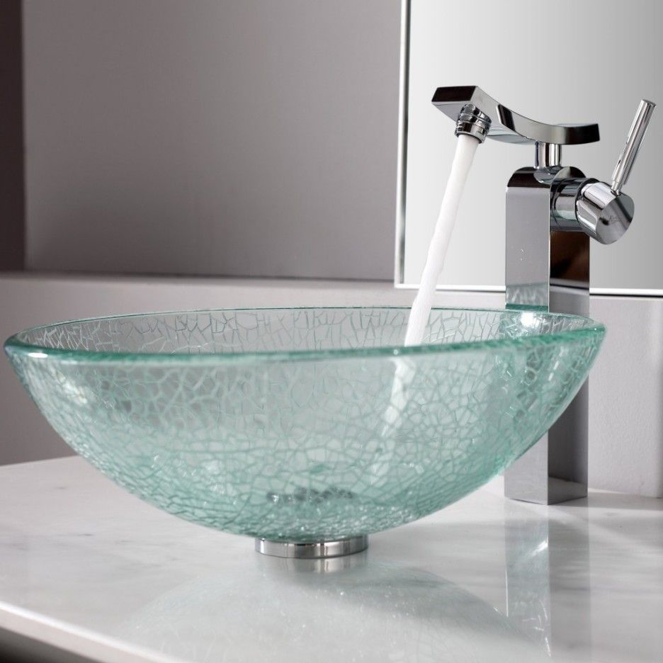 Bathroom Sink Bowls With Vanity : Modern Luxury Bathroom Design With Bowl  Glass Sink And Stainless