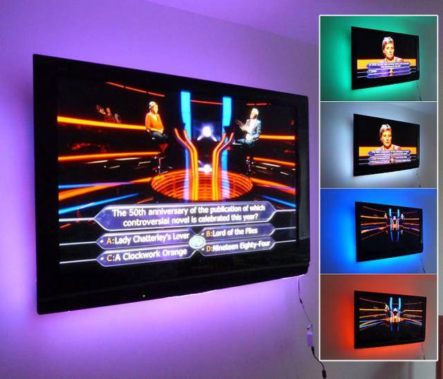 multi-colour usb rgb led strip light tv background lighting with, Wohnzimmer