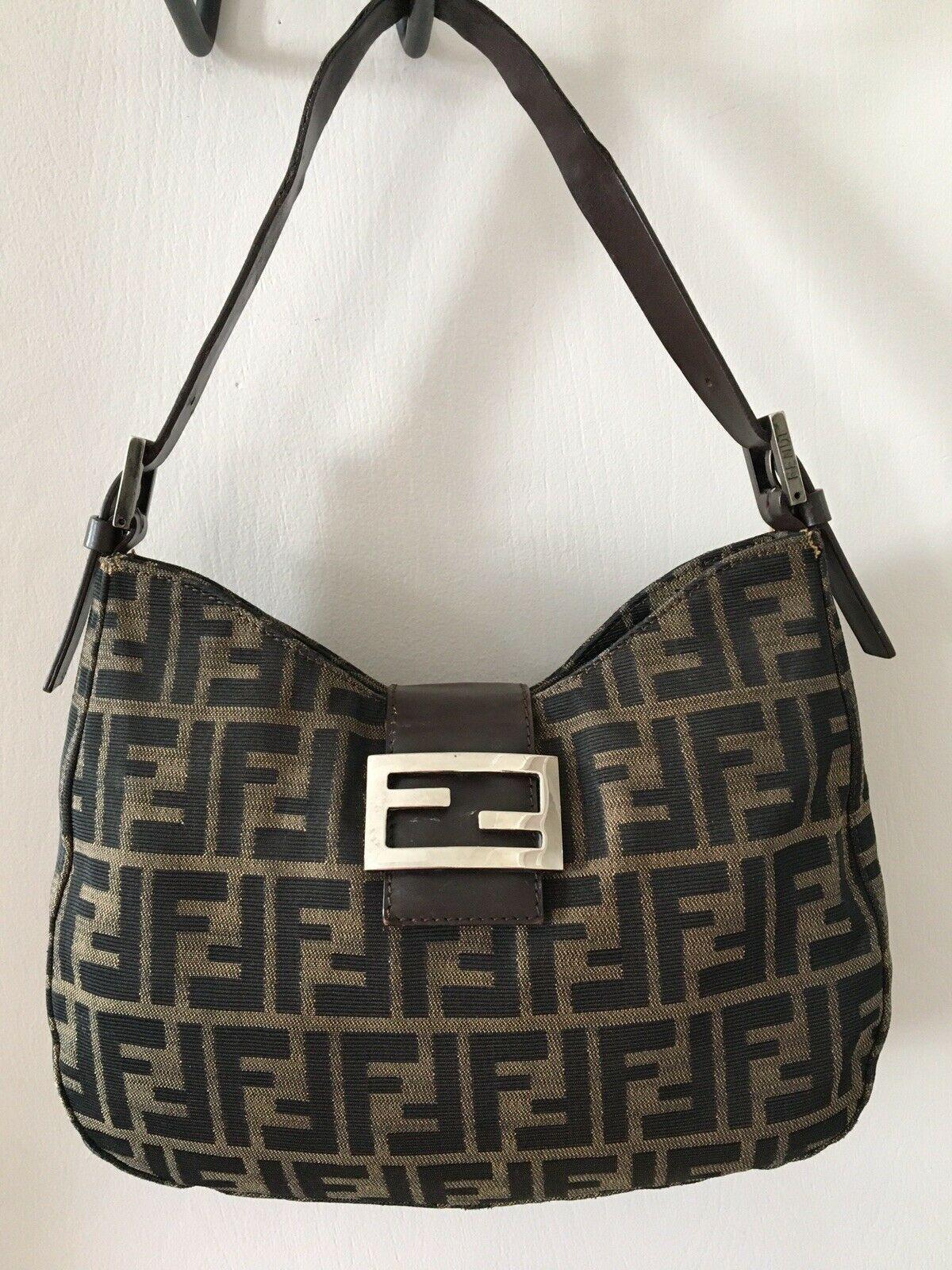 Vintage Fendi Zucca Canvas Shoulder Bag Brown Shoulder Bag Canvas Shoulder Bag Fendi
