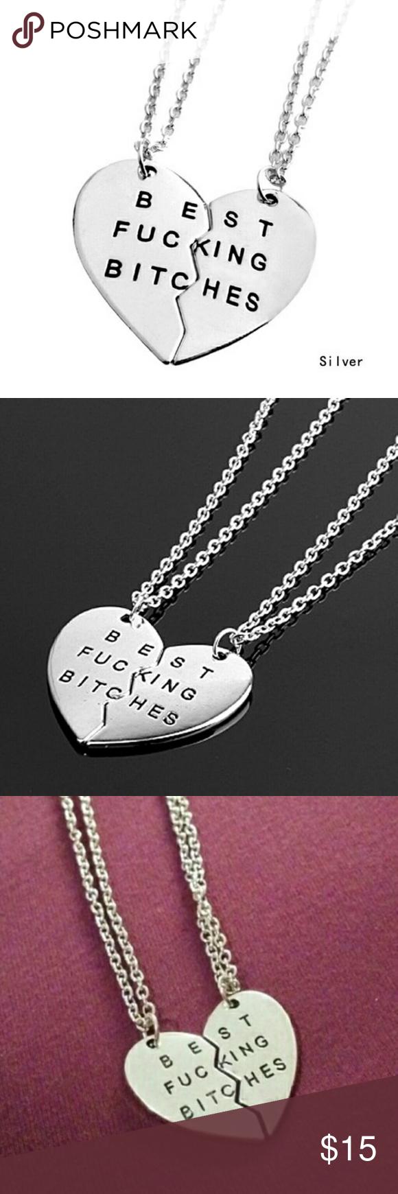 Best bitches 2 piece heart necklace boutique heart pendant best bitches 2 piece heart necklace boutique mozeypictures Image collections