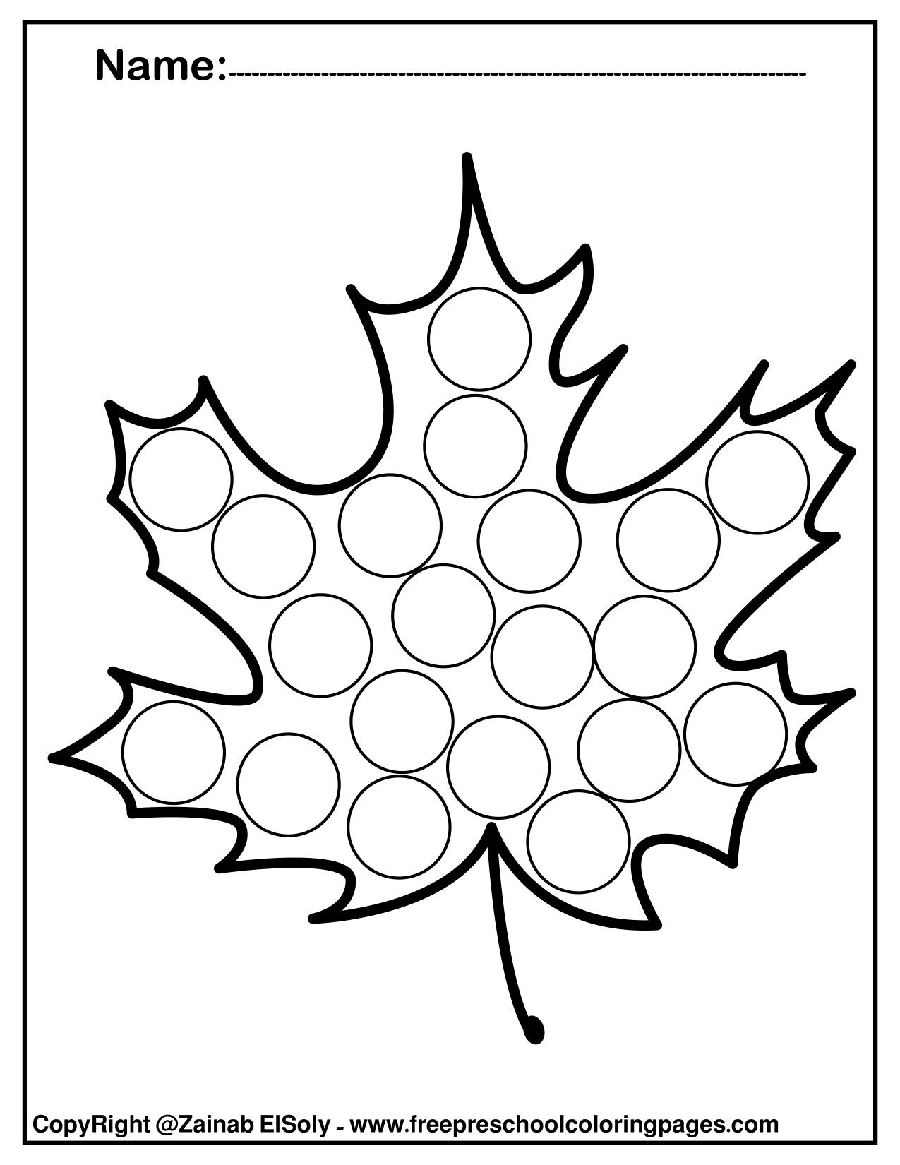 Free Autumn Leaves Fall Do A Dot Marker Coloring Pages