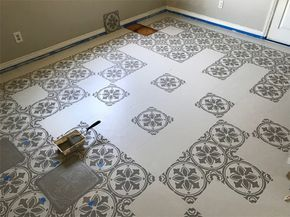 Learn How To Prep Paint And Stencil A Linoleum Kitchen Floor Using The Abbey Tile From Cutting Edge Stencils
