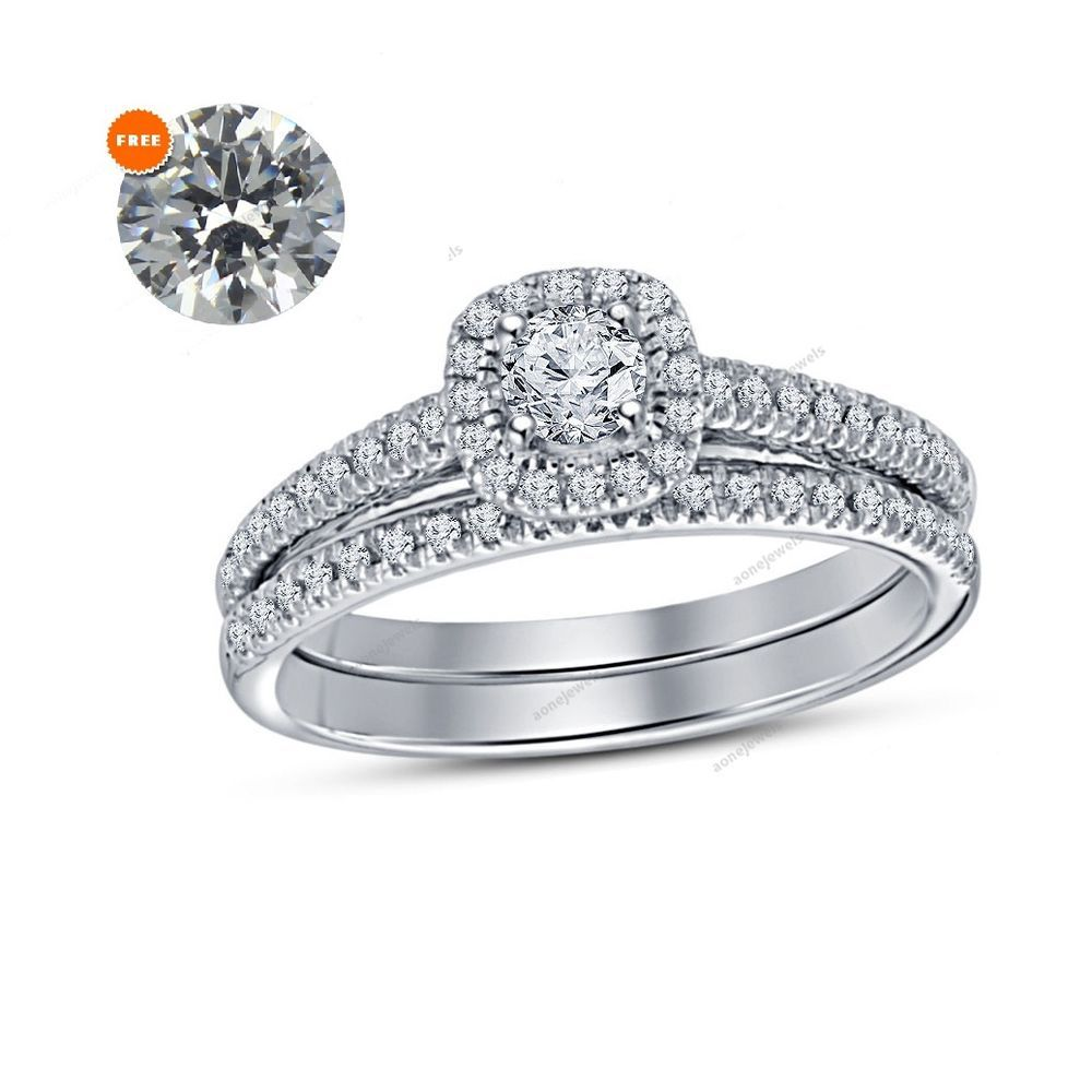 1 60 Ct Diamond White Gold Finish Women S Wedding Bridal Ring Set