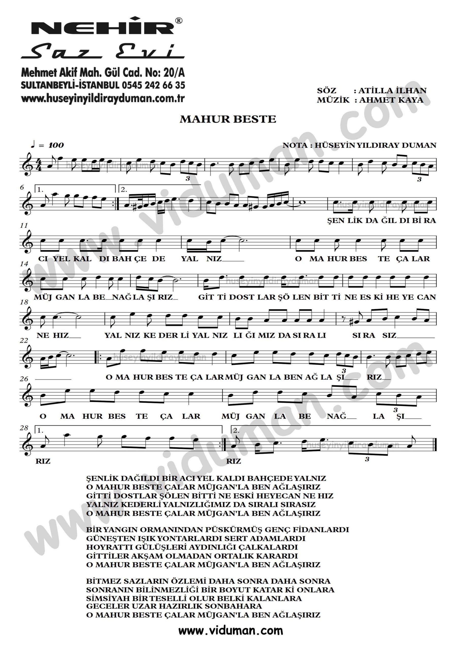 Mahur Beste Ahmet Kaya Nota Baglama Saz Turku Notalari Beste Muzik Notalari Muzik