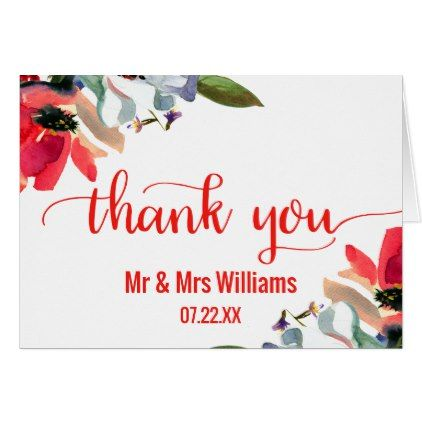#wedding #thankyoucards - #Coral Red Poppy Floral Wedding Thank You Card