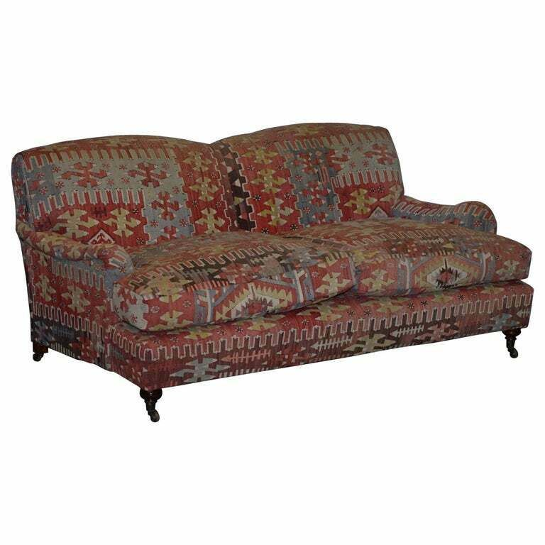 Stunning Vintage George Smith Kilim Signature Howard Sofa Feather Cushions Georgesmith Victorian In 2020