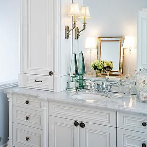 Stunning Bathroom With White Vanity Accented Orb Hardware Paired Carrera Marble Countertop Over Tiled Floors