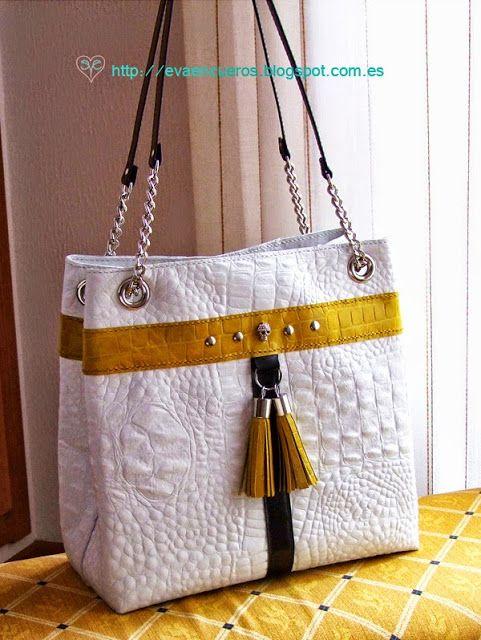 bolso cuero blanco y amarillo grande
