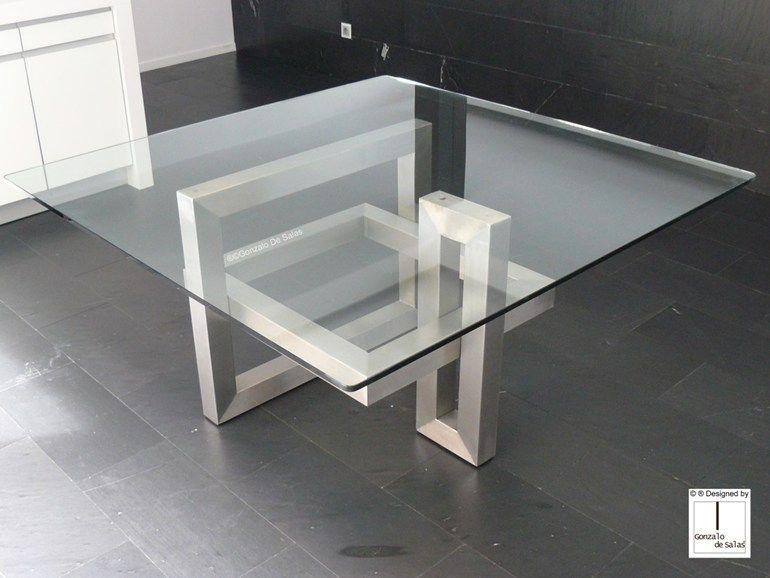 Mesa de comedor cuadrada de hierro y vidrio ios mesa for Mesas cuadradas para comedor