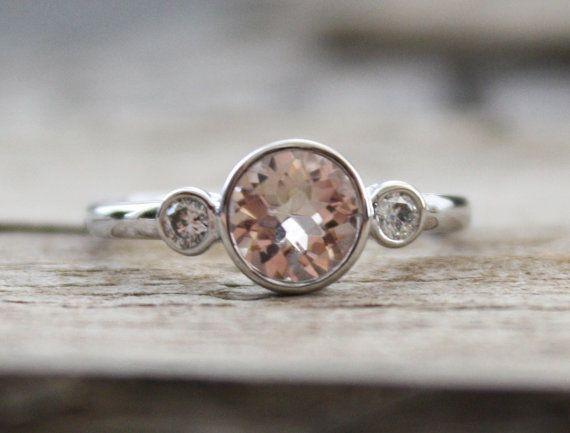 3 Morganite pierres et diamants bague en or blanc par Studio1040, $680.00