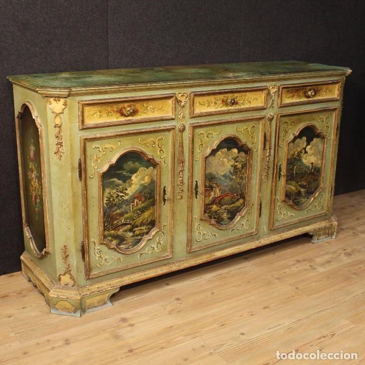 Gran armario italiano lacado dorado y pintado foto 1 - Muebles antiguos pintados ...
