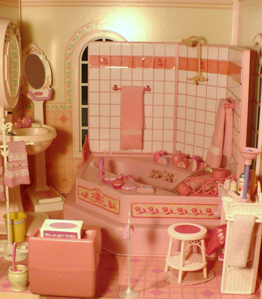 After Dinner I Feel Like Letting Go In The Bathroom Of The Magical Mansion Barbie Bathroom Barbie Playsets Barbie Doll House