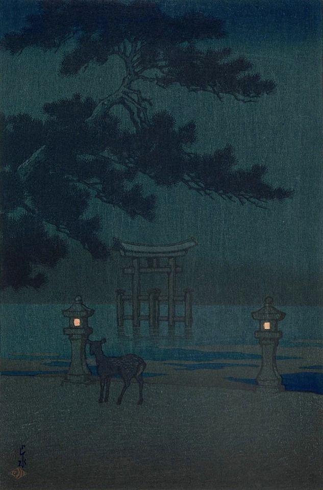 Misty Night at Miyajima,1921 by Hasui Kawase.