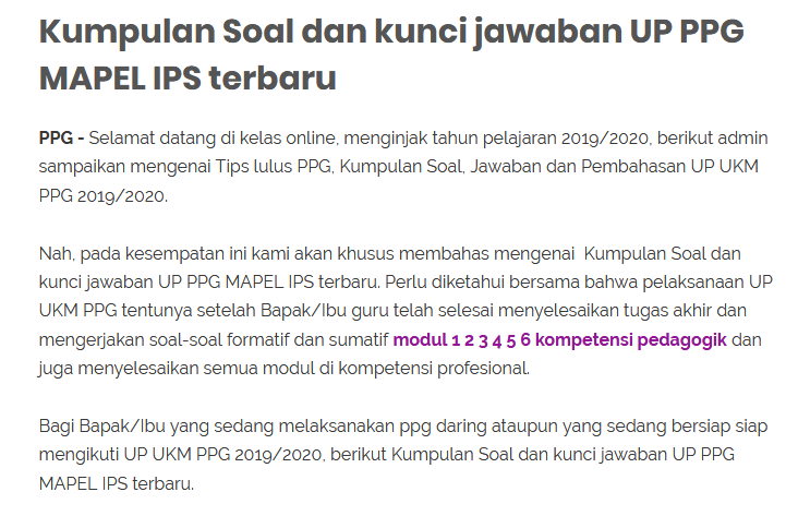 Kumpulan Soal Dan Kunci Jawaban Up Ppg Mapel Ips Terbaru Kunci