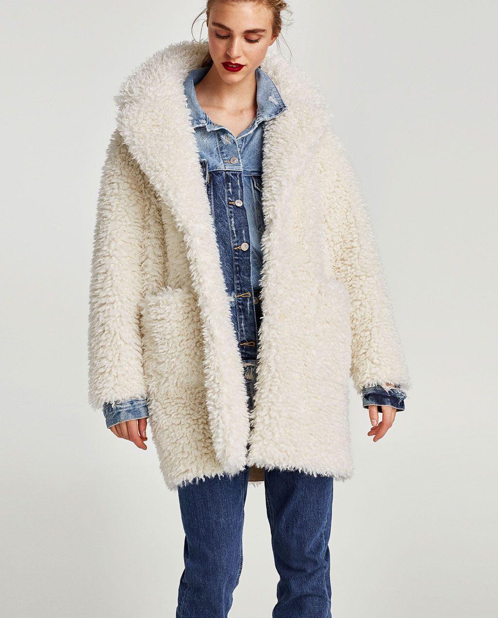 Zara abrigo textura pelo