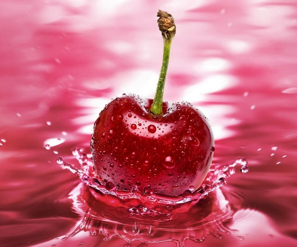 Pink Cherry Wallpaper Background Fruit Splash Cherry Fruit Cherry